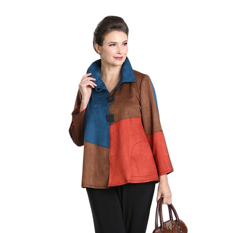 IC Collection Colorblock Faux Suede Jacket in Multi - 3319J
