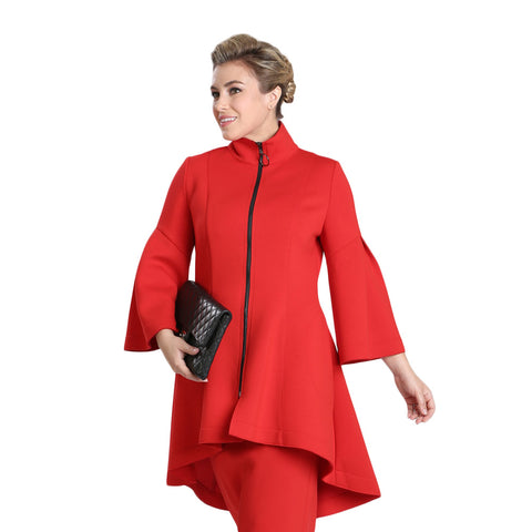 IC Collection High-Low Zip Front Jacket in Red - 3321J-RD