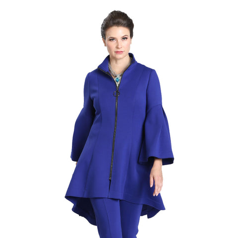 IC Collection High-Low Zip Front Jacket in Blue - 3321J-BLU - Size M Only