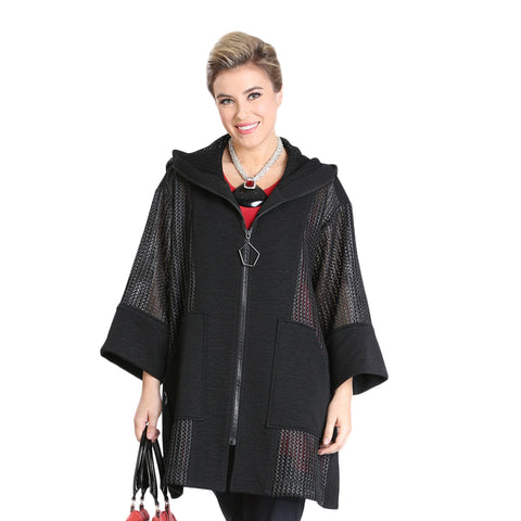 IC Collection Mixed Media Hooded Zip Front Jacket in Black - 3323J-BLK