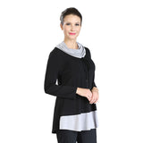 IC Collection Soft Knit Cowl Neck Tunic in Black/Grey - 3346T