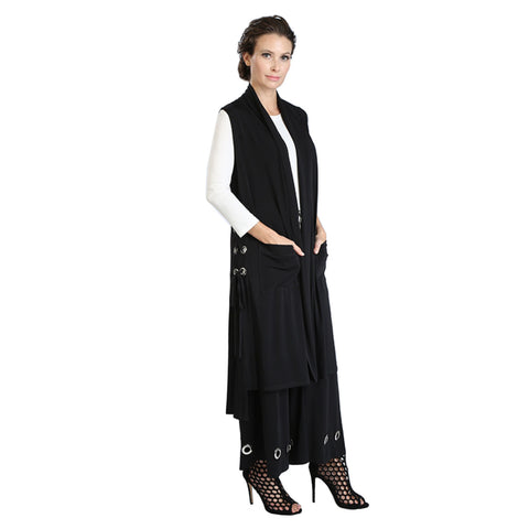 IC Collection Long Soft Knit Pocket Vest w/Grommets in Black - 3348V