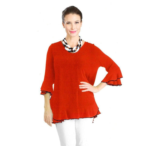 IC Collection Tiered Ruffle Sleeve Tunic in Red - 3363T-RED - Size S Only