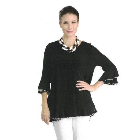 IC Collection Tiered Ruffle Sleeve Tunic in Black/White - 3363T-BK