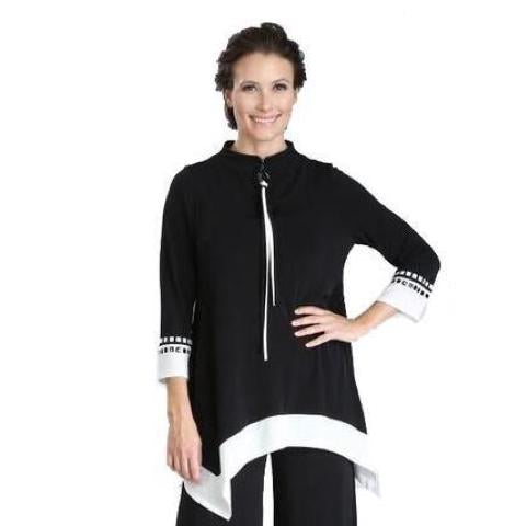 IC Collection Zip Front Tunic with Studded Trim in Black & White - 3354T