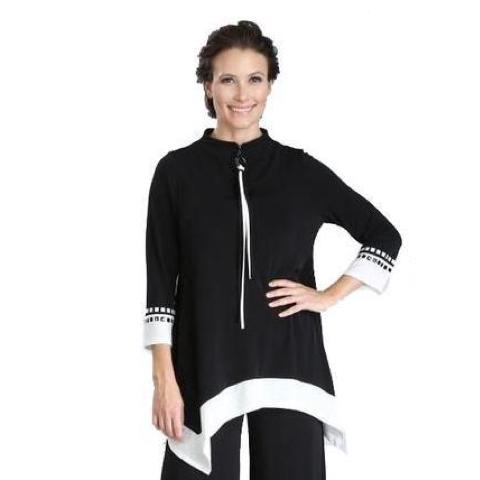 IC Collection Zip Front Studded Trim Tunic in Black & White - 3354T - Size M Only