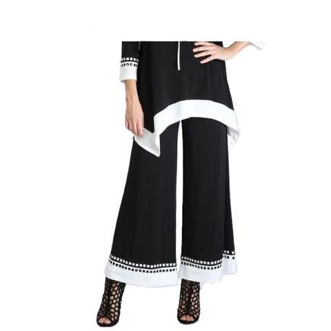 IC Collection Border Trim Palazzo Pants in Black & White - 3345P
