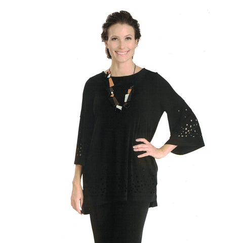 IC Collection Laser Cut-Out Detail Bell Sleeve Tunic in Black - 3368T-BK
