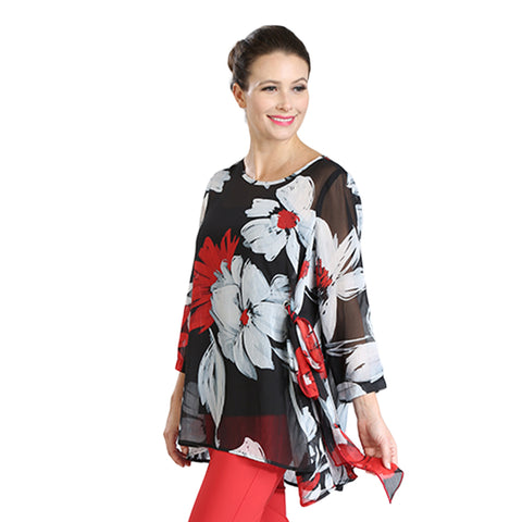 IC Collection Sheer Handkerchief Hem Blouse in Red/Black/White  - 3388T-BLK
