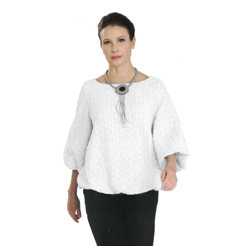 a6bc3d2aec IC Collection Textured Blousson Top in White - 3391T-WHT - Sizes L