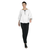 IC Collection Textured Blousson Top in White - 3391T-WHT