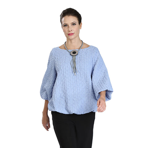 9274bc9a14 IC Collection Lightly Textured Blousson Top in Periwinkle - 3391T-PER