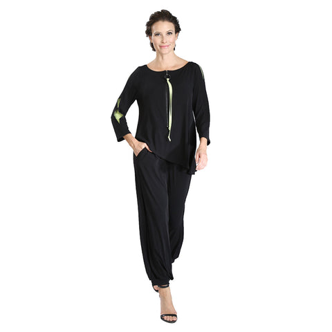 IC Collection Tunic Jumpsuit in Black with Lime Accents - 3415JS