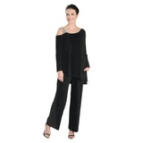 IC Collection Layered Cold Shoulder Jumpsuit in Black  - 3435JS-BLK
