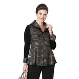 IC Collection Wave Print Zip Front Jacket in Gold/Black - 3459J-GLD