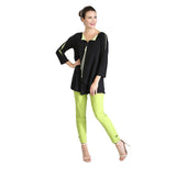 IC Collection Zip Front Tunic in Lime/Black  - 3463T-LIM - Sizes S & M Only