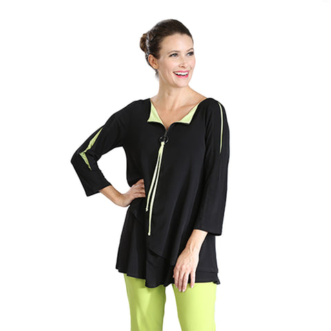 IC Collection Zip Front Tunic Top in Black/Lime  - 3463T-LIM