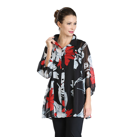 IC Collection Floral Print Blouse in Black/White/Red - 3470B - Size S Only