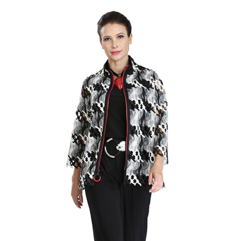 IC Collection Harmony Lace Cutout Zip Jacket in Black/White - 3471J ♥ Pre-Order
