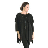 IC Collection Tiered Soft Knit Tunic in Black 3480T-BK