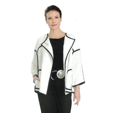 IC Collection Open Front Textured Jacket in Black & White - 3483J-WHT - Size S & XL Only