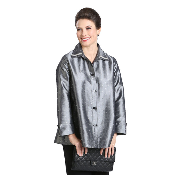 IC Collection Shimmer-Dot Button Front Blouse in Silver - 3484J - Sizes S & M Only