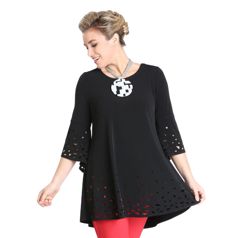 IC Collection Soft Knit Laser-Cut Tunic in Black - 3486T