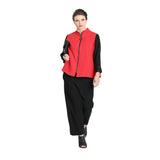 IC Collection Zip Front Colorblock Jacket in Red/Black - 3490J-RED