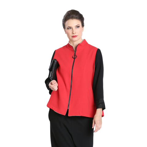 Just In! IC Collection Colorblock Zip Front Jacket in Red/Black - 3490J-RED