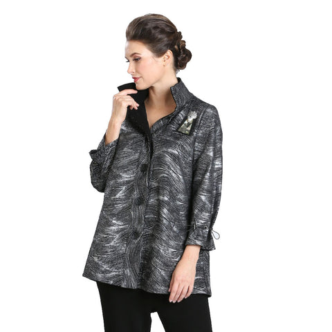 Just In! IC Collection Wave-Print Shirt/Jacket in Silver & Black - 3497J-SLV