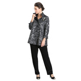 IC Collection Wave-Print Shirt/Jacket in Silver & Black - 3497J-SLV - Size S Only