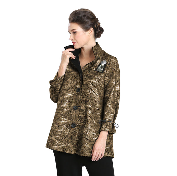 IC Collection Metallic Jacquard Shirt/Jacket in Gold - 3497J-GLD - Size S Only