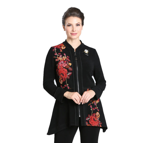 IC Collection Floral Print Zip-Front Jacket in Red/Black - 3562J