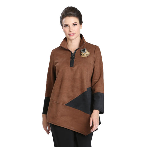 IC Collection Zip Front Faux Suede Tunic in Camel  - 3563T-CML - Sizes M, L, XL,XXL Only