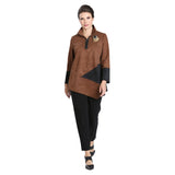 IC Collection Zip Front Faux-Suede Tunic in Brown/Olive  - 3563T-CML - Sizes M, L & XXL