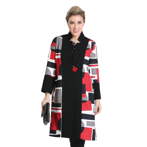 IC Collection Colorblock One-Button Jacket in Red/Multi - 3566J