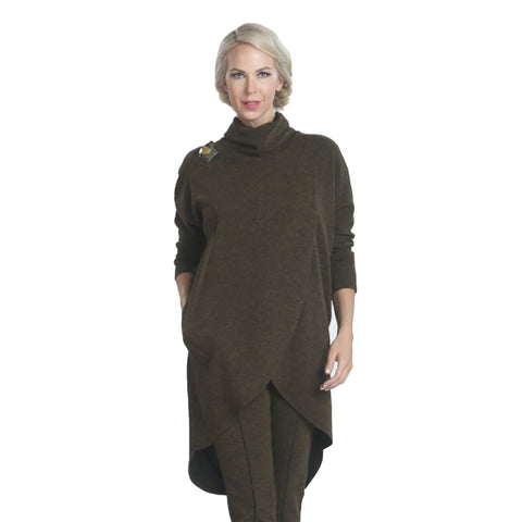 IC Collection Heathered Knit Turtleneck Tunic in Olive - 3575T-OLV - Size XXL Only