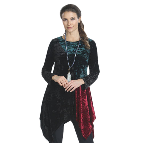 IC Collection Velvet Tunic in Burgundy/Green/Black - 3901T-BRG - Size S Only