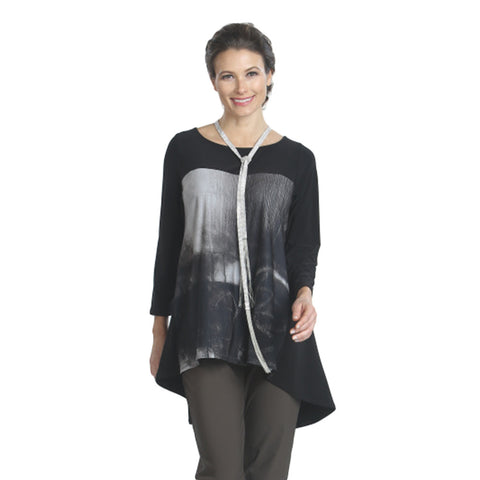 IC Collection Abstract Tunic in Taupe/Black - 3987T-TAU