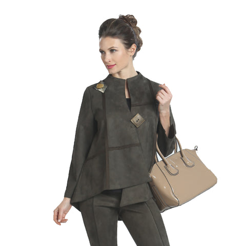 IC Collection Ultra Soft Faux Suede Jacket in Olive - 3993J-OLV