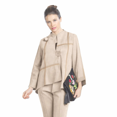 IC Collection Ultra Soft Faux Suede Jacket in Sand - 3993J-SND