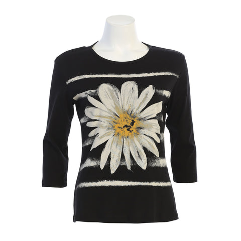 "Jess & Jane ""Aria"" Daisy Print Top in Black/White/Yellow - 14-1453BK"