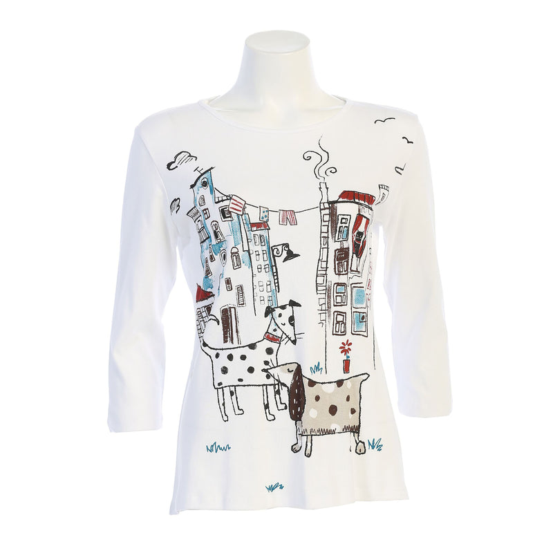 "Jess & Jane ""City Pups"" Print Cotton Top in White/Multi - 14-1436WT"