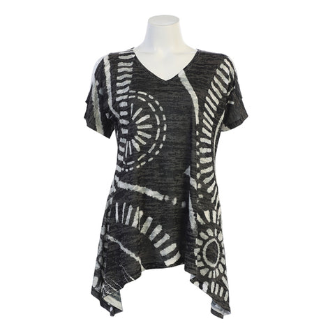 "Jess & Jane ""Travel"" Abstract Print Burnout Cold Shoulder Tunic - 41-1319"