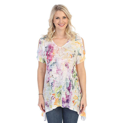 "Jess & Jane ""Fanciful"" Abstract Print Burnout Cold Shoulder Tunic - 41-1372"