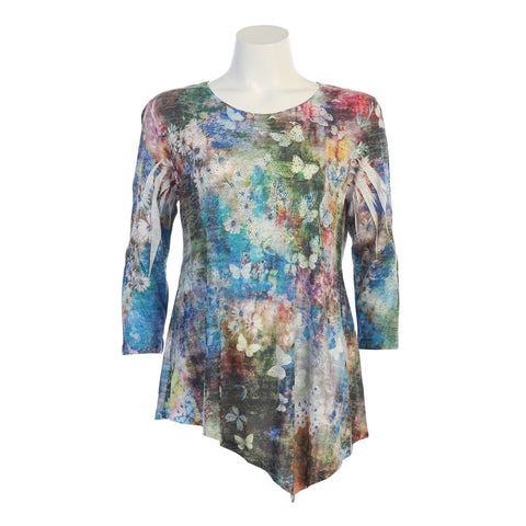"Jess & Jane ""Teeming"" Burnout Asymmetric Tunic in Multi- 42-1044"