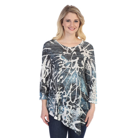 "Jess & Jane ""Storm"" Abstract Print Burnout Angled Hem Tunic - 42-1216"