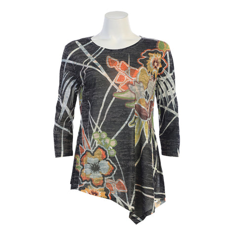 "Jess & Jane ""Bonita"" Abstract Floral Print Burnout Asymmetric Tunic - 42-1338"