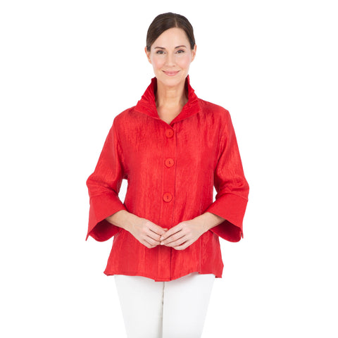 Damee Shimmery Bell Sleeve Short Jacket in Red - 4243-RED