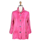 Damee Solid Button Front Jacket  in Fuchsia - 4244-FUS